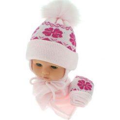 Czapka niemowlęca z szalikiem i rękawiczkami 012C różowa. Czapki dla dzieci marki Reserved. Za 46.14 zł.