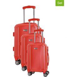 Zestaw walizek w kolorze koralowym - 3 szt. Walizki męskie Platinium, z materiału. W wyprzedaży za 599.95 zł.
