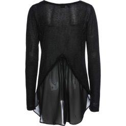 Sweter z lureksową nitką i szyfonową wstawką bonprix czarny metaliczny. Swetry damskie marki KALENJI. Za 74.99 zł.