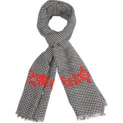"""Szal """"Emby"""" w kolorze czarno-czerwonym - 180 x 70 cm. Czarne szaliki i chusty damskie Scottage, z haftami, z bawełny. W wyprzedaży za 45.95 zł."""