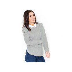 Sweter K226 Ciemny Szary. Szare swetry damskie Katrus, z dresówki, z dekoltem na plecach. Za 119.00 zł.