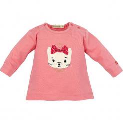 """Koszulka """"Hello Baby"""" w kolorze jasnoróżowym. Czerwone bluzki dla dziewczynek Bondi, z aplikacjami, z okrągłym kołnierzem, z długim rękawem. W wyprzedaży za 32.95 zł."""