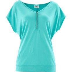 T-shirt z zamkiem, krótki rękaw bonprix zielony oceaniczny. T-shirty damskie marki DOMYOS. Za 54.99 zł.