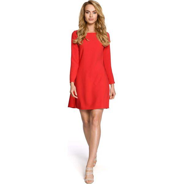 125b6a680defa1 Czerwona Dzianinowa Sukienka z Ozdobnymi Plisami na Plecach ...