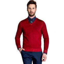 Sweter MARTINO SWTS000094. Czerwone swetry przez głowę męskie Giacomo Conti, na lato, z wełny. Za 229.00 zł.