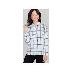 Koszula K421 Wzór 41. Szare koszule damskie Lenitif, w geometryczne wzory, eleganckie, z klasycznym kołnierzykiem, z długim rękawem. Za 109.00 zł.