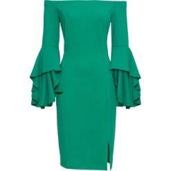 Sukienka z rozkloszowanymi rękawami bonprix zielony miętowy. Zielone sukienki damskie bonprix. Za 89.99 zł.