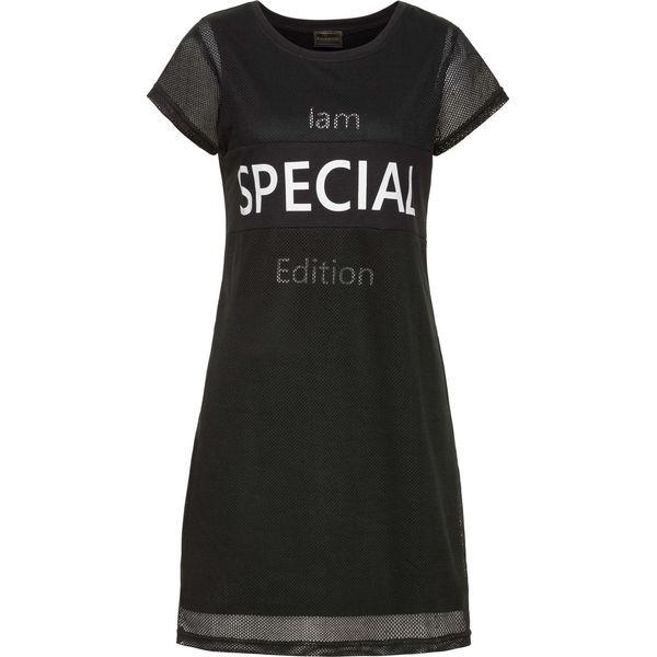 3b0d293bdf Sukienka shirtowa z siatkową wstawką bonprix czarno-biały z ...