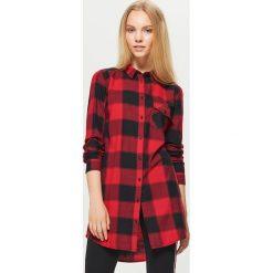 Koszulowa sukienka w kratę - Czerwony. Czerwone sukienki damskie Cropp, z koszulowym kołnierzykiem. W wyprzedaży za 49.99 zł.