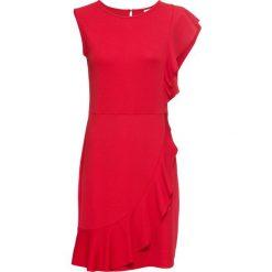Sukienka z dżerseju z falbaną bonprix ciemnoczerwony. Czerwone sukienki damskie bonprix, z dżerseju. Za 59.99 zł.