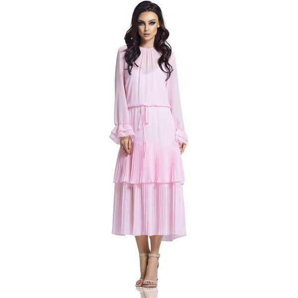 f16e6262af Różowa Długa Sukienka w Stylu Boho z Plisowanymi Falbankami ...