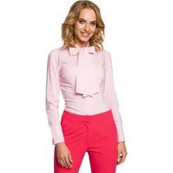 Koszula w Różową Kratkę z Wiązaną Kokardą. Czerwone koszule damskie Molly.pl, w kratkę, eleganckie, z kokardą, z długim rękawem. Za 99.90 zł.