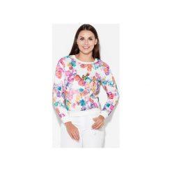 Bluza K282 Kwiaty. Szare bluzy damskie Katrus, w kwiaty, z dzianiny. Za 99.00 zł.