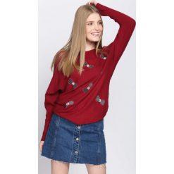 Bordowy Sweter I Just Starting. Czerwone swetry damskie Born2be, z okrągłym kołnierzem. Za 69.99 zł.