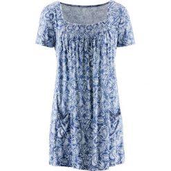 Tunika shirtowa, krótki rękaw bonprix indygo-biały wzorzysty. Tuniki damskie marki bonprix. Za 74.99 zł.