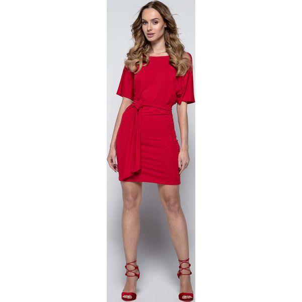 f05ec29de4 Czerwona Wyjściowa Dopasowana Mini Sukienka z Kimonowym Rękawem ...