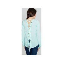Bluzka K385 Mięta. Zielone bluzki damskie Lenitif, z dekoltem na plecach, z długim rękawem. Za 119.00 zł.