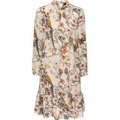 Sukienka z falbanami bonprix beżowy z nadrukiem. Brązowe sukienki damskie bonprix, z nadrukiem, ze stójką. Za 129.99 zł.
