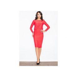 Sukienka M326 Czerwony. Czerwone sukienki damskie Figl, eleganckie, z dekoltem na plecach, z długim rękawem. Za 129.00 zł.