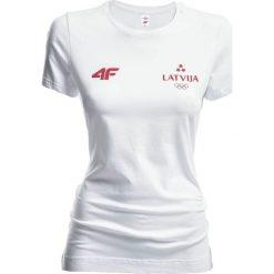 Koszulka damska Łotwa Pyeongchang 2018 TSD800 - biały. Białe bluzki damskie 4f, z nadrukiem, z bawełny, z dekoltem na plecach. W wyprzedaży za 69.99 zł.