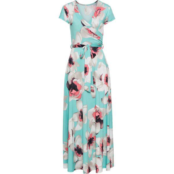 34ae3fc586 Sukienka z wiązaniem z przodu bonprix miętowy w kwiaty - Zielone ...