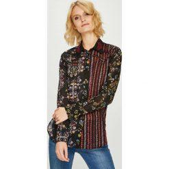 Desigual - Koszula. Szare koszule damskie Desigual, z bawełny, casualowe, z klasycznym kołnierzykiem, z długim rękawem. W wyprzedaży za 239.90 zł.