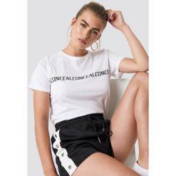 NA-KD Trend T-shirt basic Conceal - White. Białe t-shirty damskie NA-KD Trend, z nadrukiem, z jersey, z okrągłym kołnierzem. Za 72.95 zł.