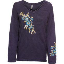 Sweter z haftem bonprix niebieski. Swetry damskie marki KALENJI. Za 79.99 zł.
