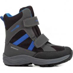 """Botki zimowe """"New Alaska"""" w kolorze szaro-czarnym. Czarne buty zimowe chłopięce Geox Kids, z gumy. W wyprzedaży za 185.95 zł."""