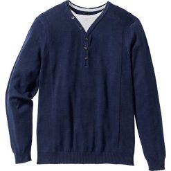 Sweter 2 w 1 Regular Fit bonprix ciemnoniebieski. Swetry przez głowę męskie marki Giacomo Conti. Za 59.99 zł.