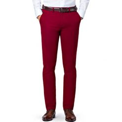 Spodnie Bordowe Chino Mono II. Czerwone eleganckie spodnie męskie LANCERTO, z bawełny. Za 299.90 zł.