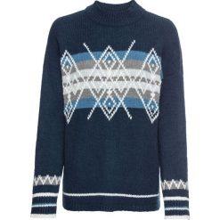 Sweter dzianinowy bonprix ciemnoniebiesko-biały wzorzysty. Swetry damskie marki bonprix. Za 129.99 zł.
