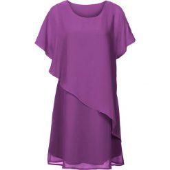 Sukienka z tkaniny bonprix fioletowy. Fioletowe sukienki damskie bonprix, z tkaniny, z asymetrycznym kołnierzem. Za 109.99 zł.