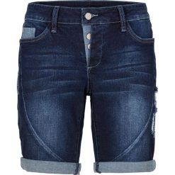 Szorty dżinsowe bonprix ciemny denim. Niebieskie szorty damskie bonprix, z denimu. Za 109.99 zł.