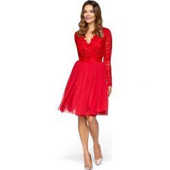 Czerwona Wieczorowa Sukienka z Tiulu i Koronki. Czerwone sukienki damskie Molly.pl, w koronkowe wzory, z koronki, eleganckie, z kopertowym dekoltem. Za 279.90 zł.