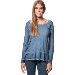 Koszulka w kolorze niebieskim. Bluzki damskie Benetton, z bawełny, z okrągłym kołnierzem, z długim rękawem. W wyprzedaży za 64.95 zł.