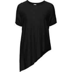 Sweter z krótkim rękawem i asymetrycznym dołem bonprix czarny. Swetry damskie marki bonprix. Za 49.99 zł.