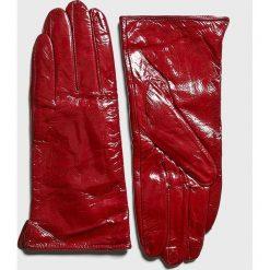 Answear - Rękawiczki skórzane. Czerwone rękawiczki damskie ANSWEAR, z materiału. Za 69.90 zł.