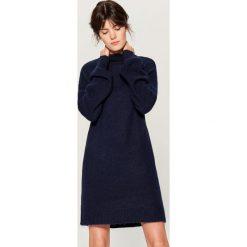 Swetrowa sukienka z wełną - Niebieski. Niebieskie sukienki damskie Mohito, z wełny. Za 179.99 zł.