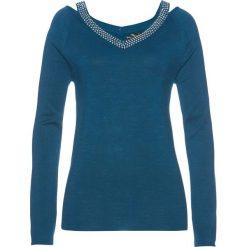 Sweter ze sztrasami bonprix niebieskozielony morski. Zielone swetry damskie bonprix. Za 119.99 zł.