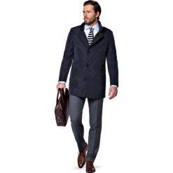 Płaszcz Granatowy Merano. Niebieskie płaszcze męskie LANCERTO, z tkaniny, casualowe. W wyprzedaży za 299.90 zł.