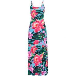 Długa sukienka bonprix niebieski w kwiaty. Niebieskie sukienki damskie bonprix, w kwiaty, z długim rękawem. Za 109.99 zł.