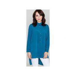Koszula K293 Morski. Niebieskie koszule damskie Lenitif, z materiału, klasyczne, z klasycznym kołnierzykiem. Za 119.00 zł.