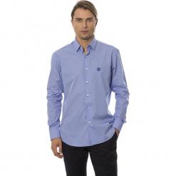 Koszula w kolorze ciemnoniebieskim. Białe koszule męskie Roberto Cavalli, Trussardi, w kratkę, z klasycznym kołnierzykiem. W wyprzedaży za 339.95 zł.