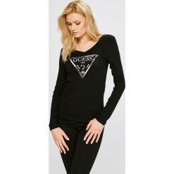 Guess Jeans - Bluzka. Czarne bluzki damskie Guess Jeans, z aplikacjami, z bawełny, casualowe. Za 229.90 zł.