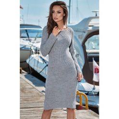 Ołówkowa sukienka sweterkowa ls224. Szare sukienki damskie Lemoniade, ze splotem, eleganckie, z klasycznym kołnierzykiem, z długim rękawem. Za 139.00 zł.
