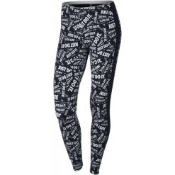 Nike Legginsy Sportowe W Nsw Lggng Club Prnt Black/White Xs. Legginsy sportowe damskie Nike, z napisami. W wyprzedaży za 99.00 zł.