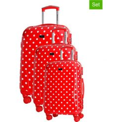 Zestaw walizek w kolorze czerwonym ze wzorem - 3 szt. Walizki męskie Platinium, z materiału. W wyprzedaży za 659.95 zł.