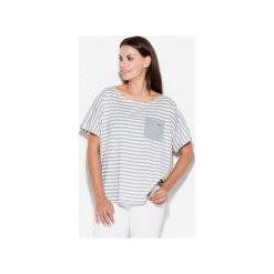 Bluzka K165 Szary. Szare bluzki damskie Katrus, w paski, z wiskozy, z krótkim rękawem. Za 79.00 zł.