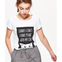 Koszulka z kotem - Biały. Białe bluzki damskie Cropp. Za 19.99 zł.
